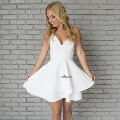 White Spaghetti-Strap Cute Lace Mini Sleeveless Homecoming Dress UK_6