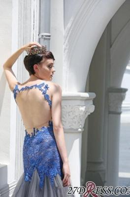 Gorgeous Elegant Mermaid Sleeveless Tulle Appliques Evening Dress UK_2