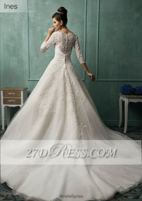Elegant 3/4 Sleeve Lace Appliques Wedding Dresses UK  Bridal Gowns with Bottons_2