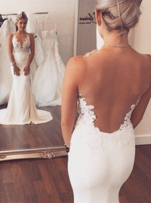 Noble Sleeveless Lace Appliques Wedding Dresses UK Sexy Mermaid On Sale BA3612_1