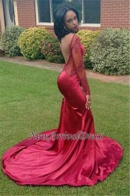 New Elegant Appliques Backless Long-Sleeves Red Mermaid Prom Dress UK BK0_1