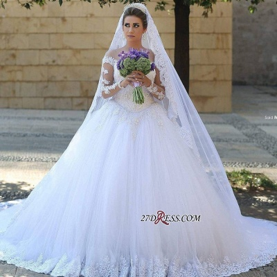 Ball-Gown Tulle Lace Appliques Beadss Elegant Long-Sleeves Wedding Dresses UK_2