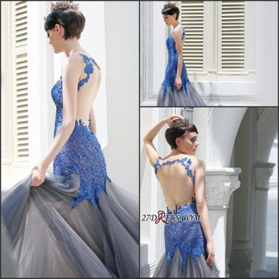 Gorgeous Elegant Mermaid Sleeveless Tulle Appliques Evening Dress UK_3