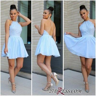 Short Halter Lace Open-Back Sexy Chiffon Blue Lovely Homecoming Dress UKes UK BA3679_3