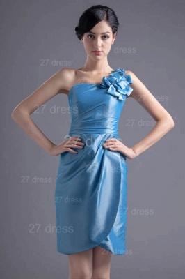 Newest One Shoulder Short Cocktail Dress UK Flower Zipper_1