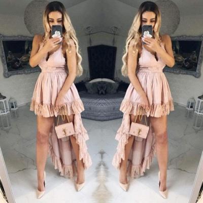 Lovely V-Neck Short Homecoming Dress UK   Hi-Lo Pink Mini Dress UK_3