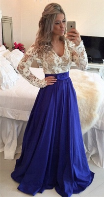 Modern Lace Chiffon Long Sleev Prom Dress UK Zipper Button Back_4