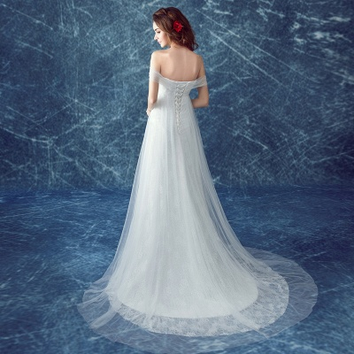 Romantic Tulle Off-the-shoulder Wedding Dress Lace-up Sweep Train_4