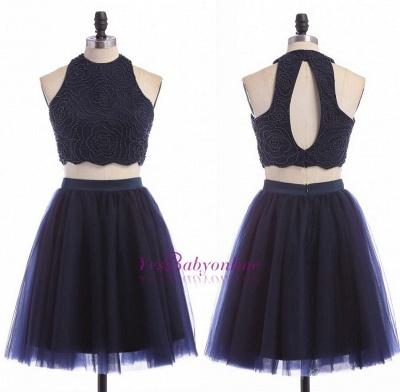 Sleeveless Mini Elegant Two-Piece Zipper Jewel Homecoming Dress UK_3