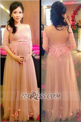 Sexy 3/4-length Sleeve Tulle Maternity Prom Dress UK With Lace Appliques Flowers_2