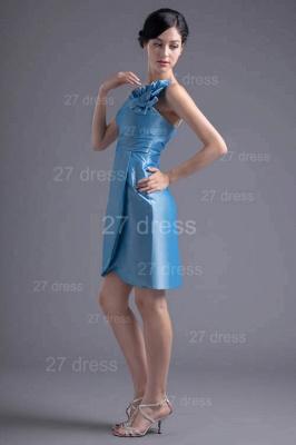 Newest One Shoulder Short Cocktail Dress UK Flower Zipper_4