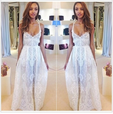 Gorgeous Sleeveless Spaghetti Straps Prom Dress UK With Lace Floor Length Evening Gowns BK0_2