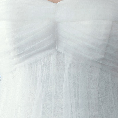 Romantic Tulle Off-the-shoulder Wedding Dress Lace-up Sweep Train_5