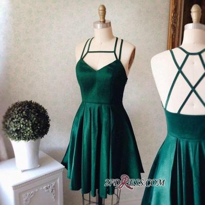 Sleeveless Mini Spaghetti-Strap Newest Green Homecoming Dress UK_3
