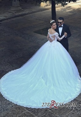 Ball-Gown Tulle Lace Appliques Beadss Elegant Long-Sleeves Wedding Dresses UK_1