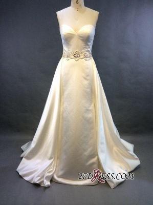 Zipper Sleeveless Gorgeous Sweetheart Beads Sweep-Train A-line Wedding Dress_2