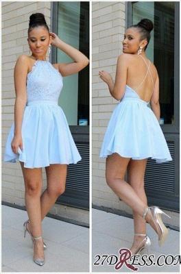 Short Halter Lace Open-Back Sexy Chiffon Blue Lovely Homecoming Dress UKes UK BA3679_2
