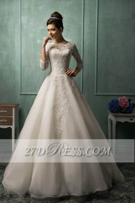 Elegant 3/4 Sleeve Lace Appliques Wedding Dresses UK  Bridal Gowns with Bottons_1