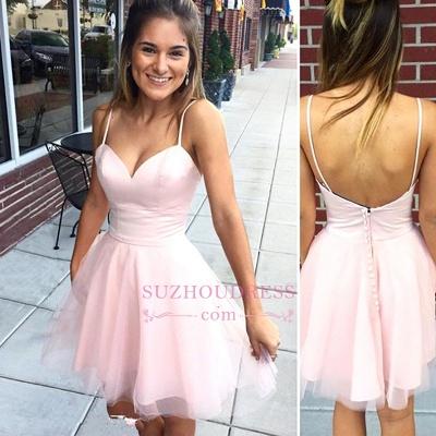Pink Zipper Mini Spaghetti-Strap Sleeveless Elegant Homecoming Dress UK_1