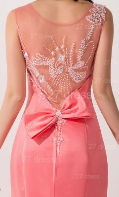 Newest Mermaid Pink Sequins Evening Dress UK Illusion Sweep Train_3