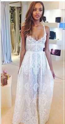 Gorgeous Sleeveless Spaghetti Straps Prom Dress UK With Lace Floor Length Evening Gowns BK0_1