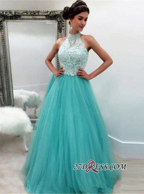 Lace Tulle Sexy Sleeveless High-Neck A-line Evening Dress UK_2