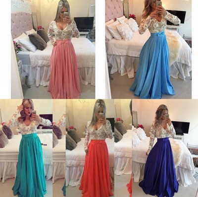 Modern Lace Chiffon Long Sleev Prom Dress UK Zipper Button Back_2