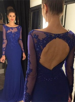 Sexy Lace Appliques Sequined Evening Dress UK Mermaid Long Sleeve AP0_3