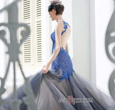 Gorgeous Elegant Mermaid Sleeveless Tulle Appliques Evening Dress UK_4