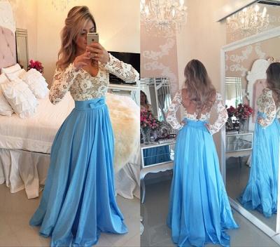 Modern Lace Chiffon Long Sleev Prom Dress UK Zipper Button Back_3