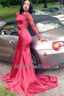 New Elegant Appliques Backless Long-Sleeves Red Mermaid Prom Dress UK BK0_2