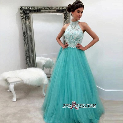 Lace Tulle Sexy Sleeveless High-Neck A-line Evening Dress UK_1