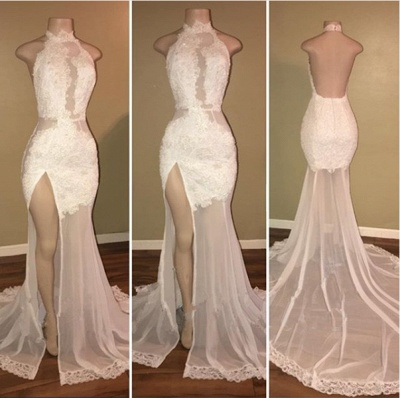 Sexy White Lace Halter Prom Dress UK Mermaid Backless Party Dress UK With Slit BA8228_3