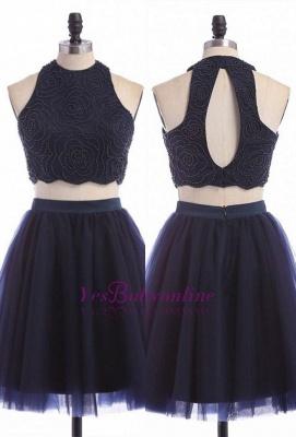 Sleeveless Mini Elegant Two-Piece Zipper Jewel Homecoming Dress UK_2