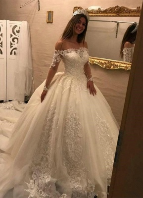 Elegant Lace Off-the-shoulder Long Sleeve Wedding Dress   Ball Gown Bridal Dress_1