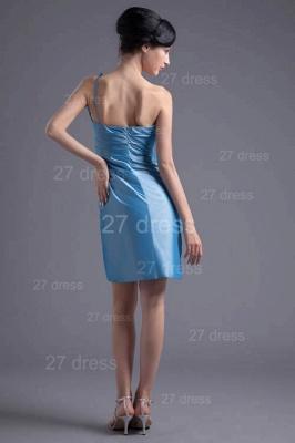 Newest One Shoulder Short Cocktail Dress UK Flower Zipper_5