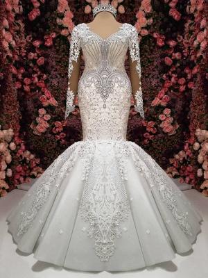 Glamorous Crystals Sexy Mermaid Bridal Gowns Long Sleeves  Wedding Dresses UK_1