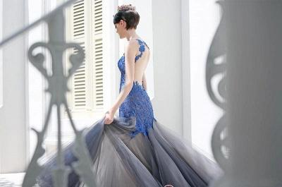 Gorgeous Elegant Mermaid Sleeveless Tulle Appliques Evening Dress UK_1