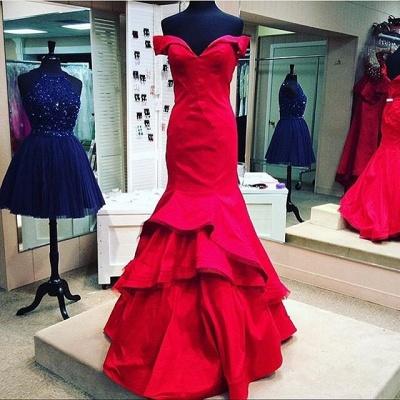 Elegant red Mermaid Prom Dress UK Off the shoulder With Ruffles BK0_4