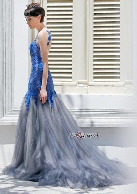 Gorgeous Elegant Mermaid Sleeveless Tulle Appliques Evening Dress UK_5