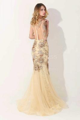Gorgeous Long Sleeve Evening Dress UK Appliques Tulle Long_3
