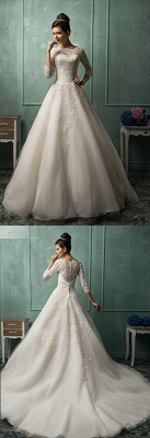Elegant 3/4 Sleeve Lace Appliques Wedding Dresses UK  Bridal Gowns with Bottons_3