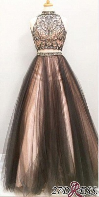 Sleeveless Tulle Crystal Gorgeous Two-Pieces A-Line Prom Dress UK BA4658_2