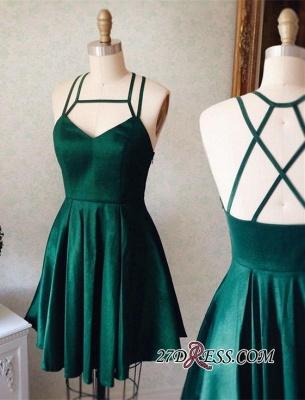 Sleeveless Mini Spaghetti-Strap Newest Green Homecoming Dress UK_1