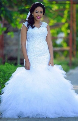 Plus size Sexy Mermaid wedding dress, lace bridal gowns_1