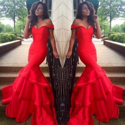 Elegant red Mermaid Prom Dress UK Off the shoulder With Ruffles BK0_3