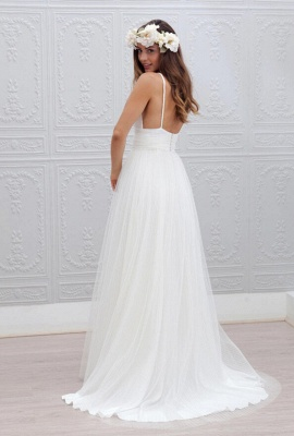 Elegant White Spaghetti Straps Wedding Dress Summer Beach Tulle Floor Length BA3218_3