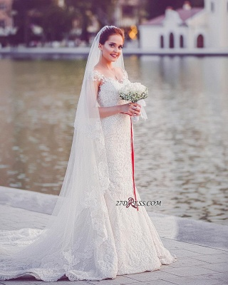 Tull Sweetheart Sexy Mermaid Elegant Lace-Appliques Off-the-Shoulder Wedding Dresses UK_3