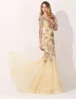 Gorgeous Long Sleeve Evening Dress UK Appliques Tulle Long_2