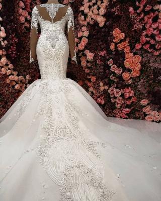 Glamorous Crystals Sexy Mermaid Bridal Gowns Long Sleeves  Wedding Dresses UK_4